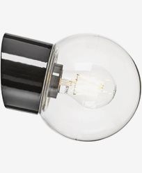 Ifö Electric Classic Globe skrå klart glass Ø150 mm Svart. 6044-510-16