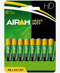 Airam Heavy Duty Plus R6 (AA) 1,5V batterier 8-pakke